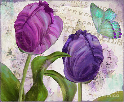 Flourish Painting - Parrot Tulips by Mindy Sommers