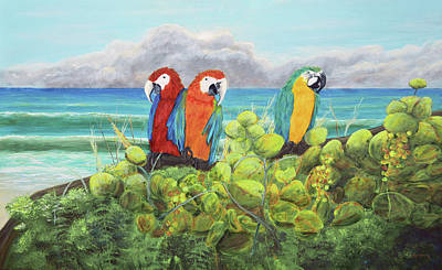 Tree Painting - Parrots In Paradise by Ken Figurski