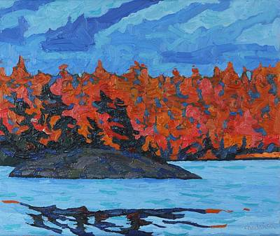 Canoeist Painting - Parry Sound Sunset by Phil Chadwick