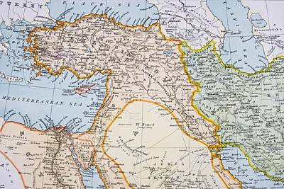 Iraq Drawing - Partial Map Of Middle East In 1890s by Vintage Design Pics