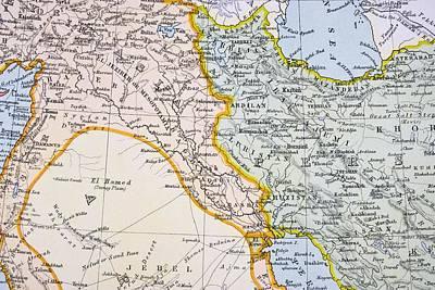 Iraq Drawing - Partial Map Of Turkey Kurdistan Iraq by Vintage Design Pics