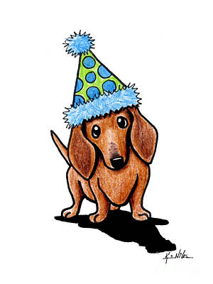Doxie Drawing - Party Dachshund by Kim Niles