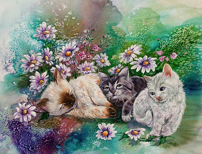 Cat Painting - Party's Over by Sherry Shipley