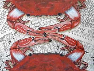 Crab Mixed Media - Pass The Butter by JoAnn Wheeler