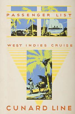 West Indies Drawing - Passenger List, West Indies Cruise by Vintage Design Pics