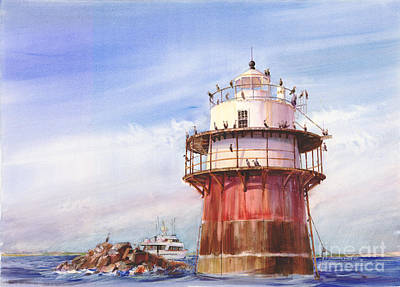 New England Lighthouse Painting - Passing Bug Light by P Anthony Visco