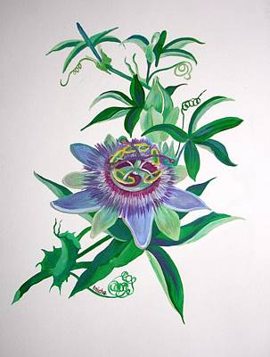 Passiflora Painting - Passion Flower by Tracey Harrington-Simpson