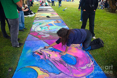 Artist Working Photograph - Pastel Mural by Inga Spence