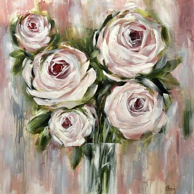Painting - Pastel Pink Roses by Chris Hobel