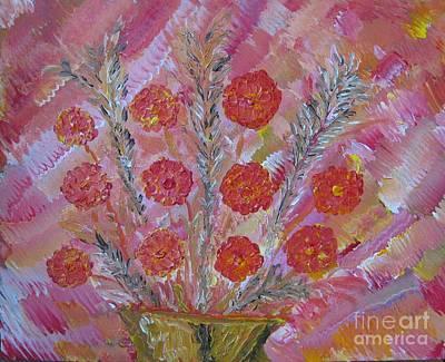 Tangerine Painting - Pastel Spring Flowers by Renu Anne
