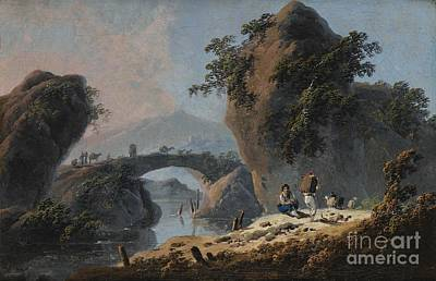 Portugal Art Painting - Pastoral Scene In A River Landscape by Jean Pillement
