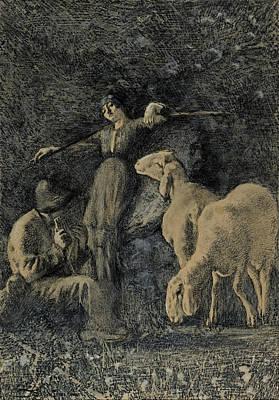 Giovanni Segantini Drawing - Pastorale by Giovanni Segantini