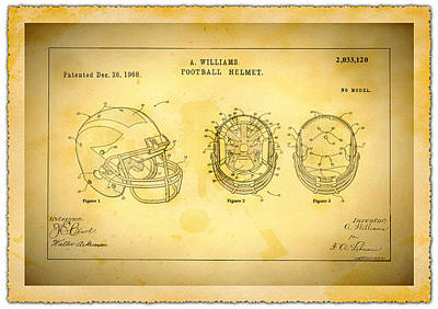 University Of Michigan Drawing - Patent Art Michigan Helmet by Big 88 Artworks