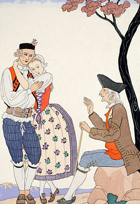 Blessings Drawing - Paternal Blessing  by Georges Barbier