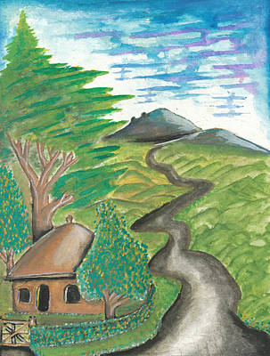 African Huts Painting - Path Into The Hills by Ken Nganga