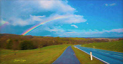 Clear Sky Digital Art - Path To Rainbow - Da by Leonardo Digenio