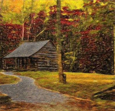 Log Cabins Mixed Media - Path To The Fall Cabin by Dan Sproul