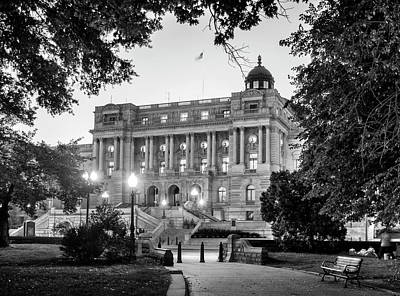 Path To The Library In Black And White Print by Greg and Chrystal Mimbs
