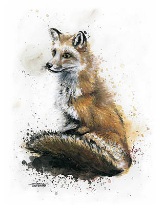 Red Foxes Drawing - Patiently Waiting by Arleana Holtzmann