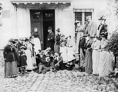 Chin Up Photograph - Patients Wait To See Dentist by Underwood Archives