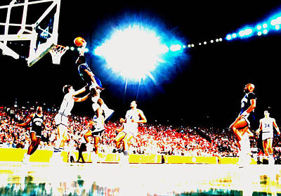 Patrick Ewing Nasty Slam  Print by Brian Reaves