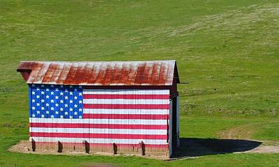 American Flag Photograph - Patriotic Barn by Kerry Reed
