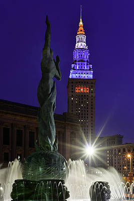 Patriotic Cleveland Fountain  Print by Clint Buhler