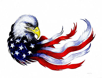 Patriotic Eagle Signed Print by Andrew Read