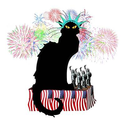 Fourth Mixed Media - Patriotic Le Chat Noir by Gravityx9 Designs
