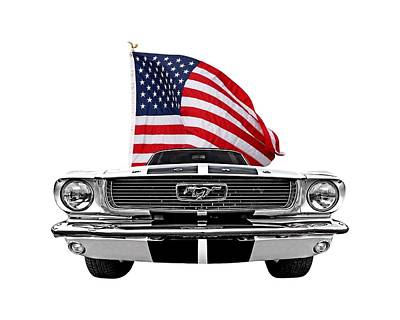 Patriotic Mustang On White Print by Gill Billington