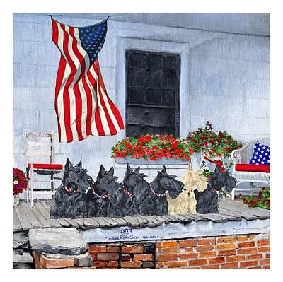 4th July Digital Art - Patriotic Scottish Terriers by Ann Kallal