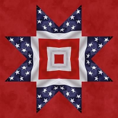 4th Digital Art - Patriotic Star 1 by Jeff Kolker