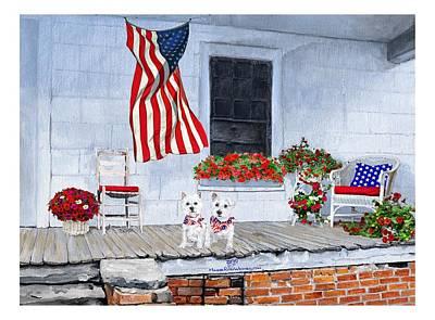 4th July Digital Art - Patriotic Westies by Ann Kallal