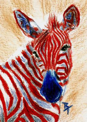 Patriotic Zebra Aceo Print by Brenda Thour