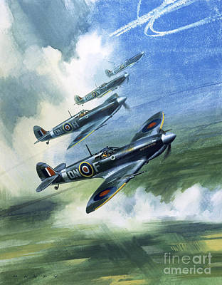 Airplane Painting - Patrolling Flight Of 416 Squadron, Royal Canadian Air Force, Spitfire Mark Nines by Wilf Hardy
