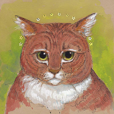 Orange Tabby Mixed Media - Patron Saint Of Whatever by Tracie Thompson