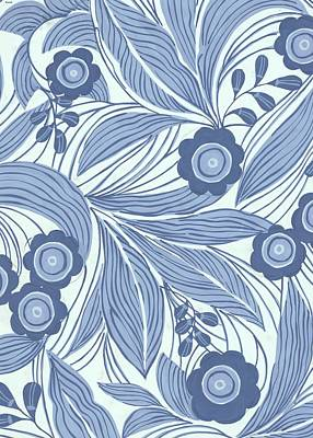 Pattern With Blue Leaves, Flowers Print by Gillham Studios