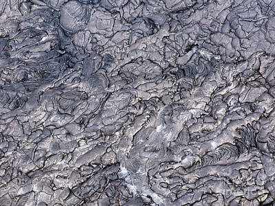 Abstract Photograph - Patterns Cracks And Shapes From Close Up Portion Of Black Solidified Lava, Hawaii by Dani Prints and Images