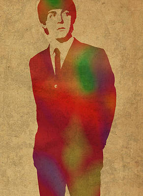 Paul Mccartney Mixed Media - Paul Mccartney Beatles Watercolor Portrait by Design Turnpike