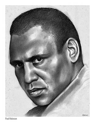 Football Drawing - Paul Robeson by Greg Joens