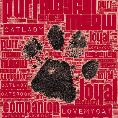 Puppy Mixed Media - Paw Print Adopt Red by Brandi Fitzgerald