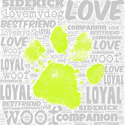 Puppy Mixed Media - Paw Print Green by Brandi Fitzgerald