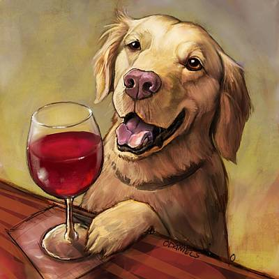 Golden Retriever Painting - Paw'n For Wine by Sean ODaniels