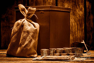 Treasure Box Photograph - Pay Day - Sepia by Olivier Le Queinec