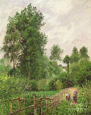 Paysage, Temps Gris A Eragny Print by Camille Pissarro