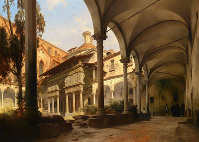 Italian Landscapes Painting - Pazzi Chapel In Church Of Santa Croce In Florence by Mountain Dreams