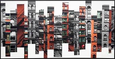 Digitally Manipulated Mixed Media - Patchwork City 68 by Marilyn Henrion