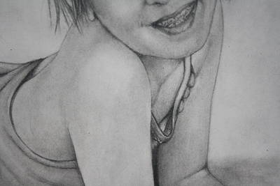 Young Girl Nude Drawing - Pd14-10 by Shannon Rains