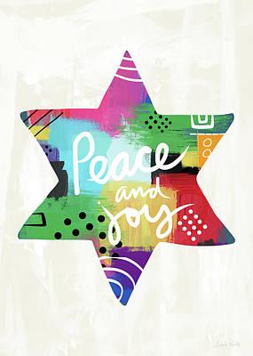 Peace And Joy Star-art By Linda Woods Print by Linda Woods