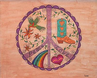 Peace And Love Western Style Print by Susie WEBER
